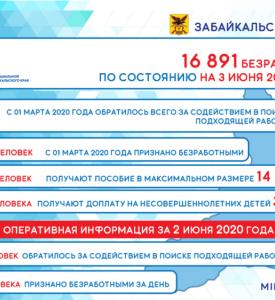 Оперативные данные по количеству безработных в Забайкалье на 3 июня 2020 года