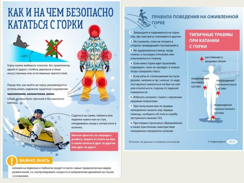 Правила безопасного поведения на снежных и ледяных горках