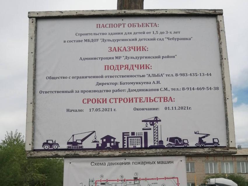 """В Дульдурге начались строительные работы пристройки к детскому саду """"Чебурашка"""""""